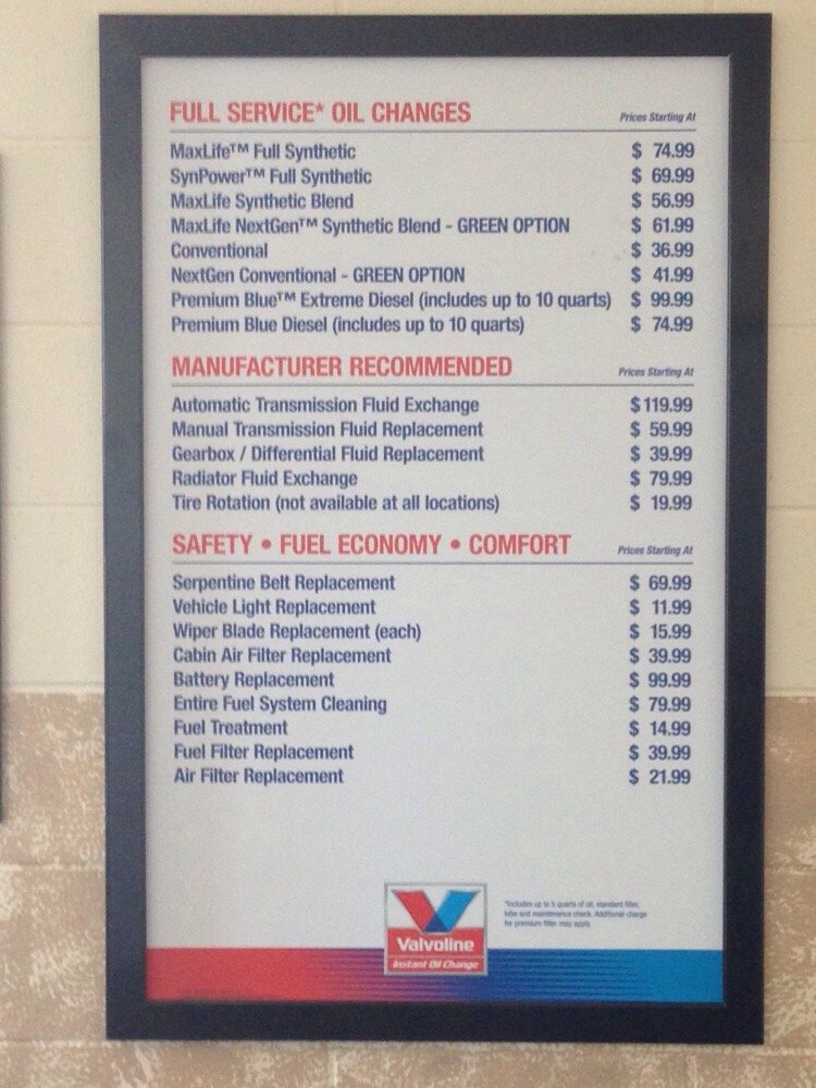 Ntb Oil Change Coupon >> Valvoline Oil Change Price and Additional Service Pricing