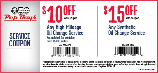 Jiffy Lube Synthetic Oil Change >> Pep Boys Oil Change Coupon — Oil Change Coupons Pro