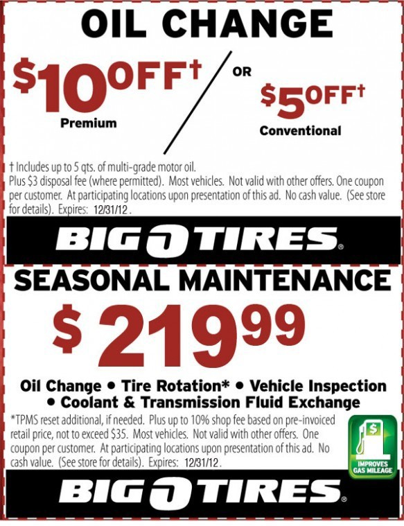 Discount tire oil coupon