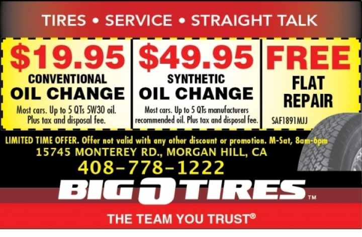 Big O Tire oil change prices